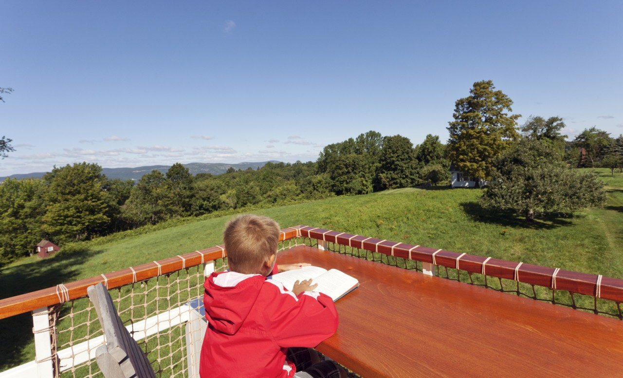 Modern Treehouse Garrison NY - Child Reading on Roof